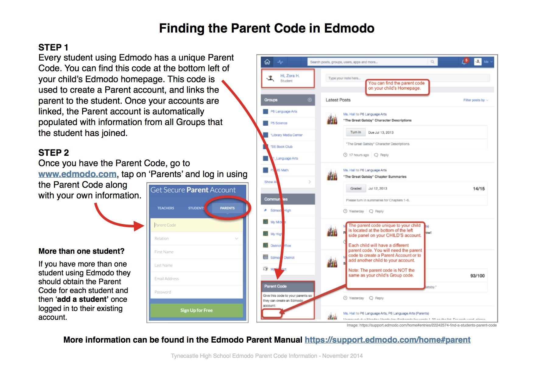 How to find the Parent Code in Edmodo
