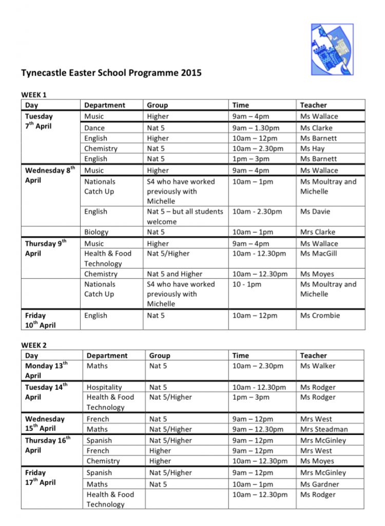School Timetables 2015 Easter School Programme 2015